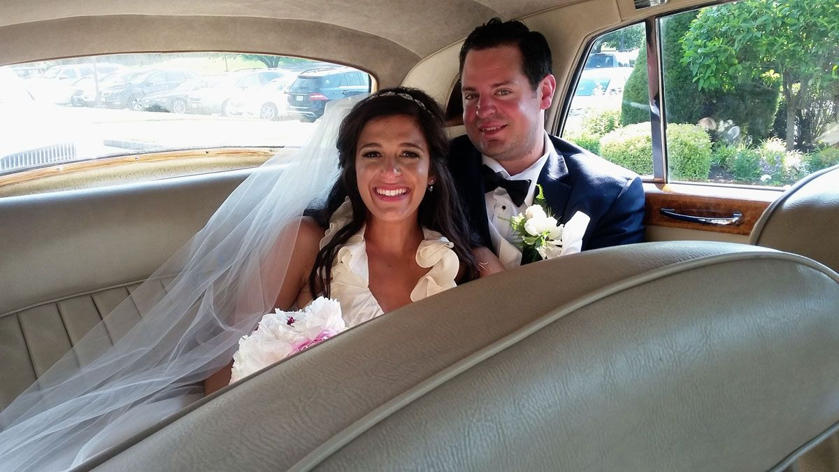 Bride and Groom Inside Limo