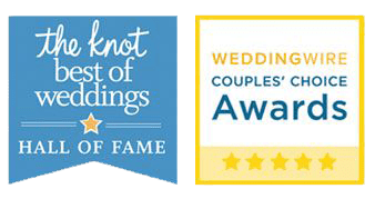 The Best of Weddings Hall of Fame Award from the knot and Wedding Wire Couples Choice Award winner