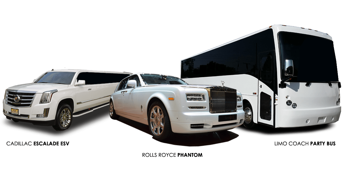 Images of the Cadillac Escalade ESV Limousine, Rolls Royce Phantom and the 42p limo coach party bus on display