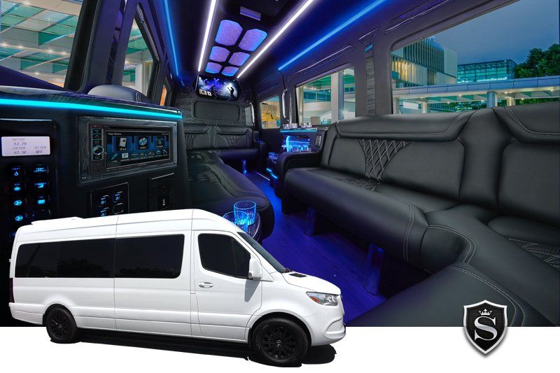 White Mercedes Benz Sprinter Limo