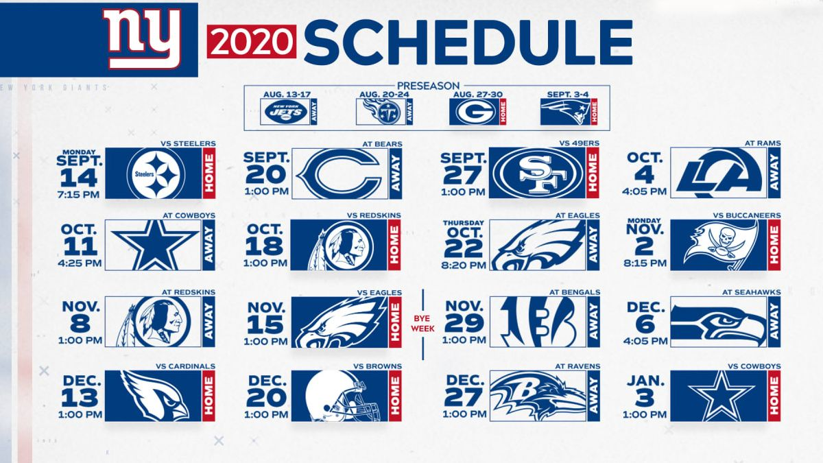2020 NFL Game Schedule for NY Giants - MetLife Limo and Party Bus Transportation